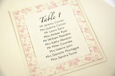 Beauty Wedding Table Plan in blush mounted onto Shimmer Ivory card http://ivyellenweddinginvitations.co.uk/other-items/table-plans