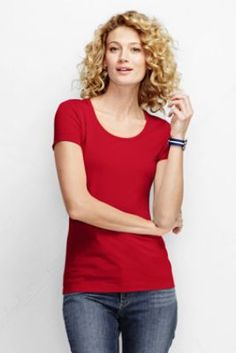 f61040631f5388 Women s Short Sleeve Shaped Layering Scoopneck T-shirt from Lands  End -  like bright