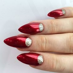 candy apple and sparkle nails
