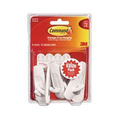 3 lb. Medium Plastic Hooks Value Pack (6-Pack), White