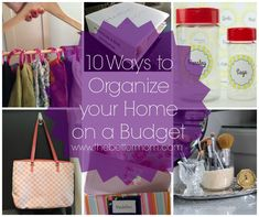 Organizing your home doesn't have to be expensive! These are great ideas to frugally get things organized!