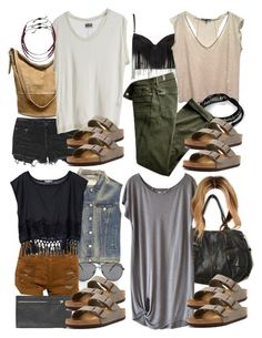 """Malia Inspired Vacation Outfits with Requested Shoes"" by veterization ❤ liked on Polyvore featuring Merona, Ksubi, Free People, MTWTFSS Weekday, Birkenstock, Humanoid, Chan Luu, Maje, Feather & Stone and rag & bone"