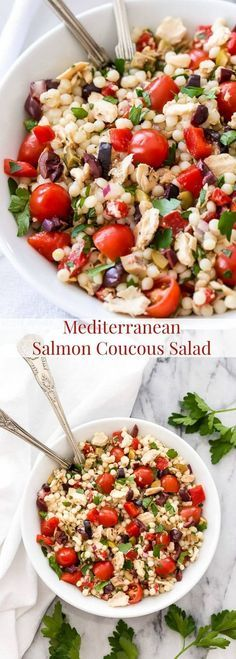 Canned salmon gets a fresh and flavorful facelift in this Mediterranean Salmon Couscous Salad! An easy to make main dish salad that's as healthy as it is delicious!