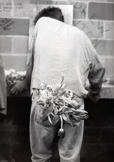 """""""why do I hold flowers when I sing? I think flowers are very beautiful things. very nice and innocent things. they don't harm anyone. they don't burp. they don't do anything ugly. so why not? it's better, I think, than waving socks about."""" --morrissey"""