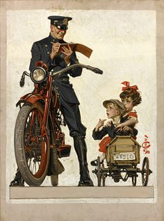 """Leyendecker - """" """"Officer, what could I do? She likes the speed…"""" """""""