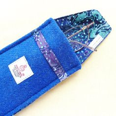 Harris Tweed Glasses Specs Eyeglass case Royal Blue by LifeCovers