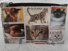 Postage Stamp Purse  Cats by StrangelyMagical on Etsy