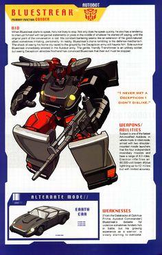 Transformer of the Day: Bluestreak Transformers Decepticons, Transformers Characters, Gi Joe, Transformers Generation 1, Character Design, Childhood, Geek Stuff, Poster, Pat Lee