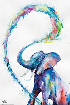 Bundle - 2 Items - Marc Allante Elephant Art Poster - x x 24 Inches) and a Set of 4 Repositionable Adhesive Pads For Easy Wall Fixing Art Watercolor, Elephant Watercolor, Watercolor Galaxy, Galaxy Painting, Simple Watercolor, Watercolor Tattoos, Watercolor Animals, Watercolour Flowers, Watercolor Projects