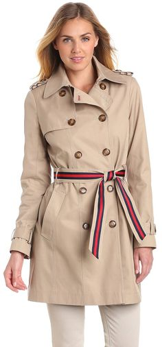 Tommy Hilfiger Women s Double Breasted Trench Coat with Striped Belt Mode,  Tommy Hilfiger Vestes, 8753f519d46