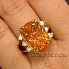 Made in USA Carved Citrine and diamond ring Gemfix $2950