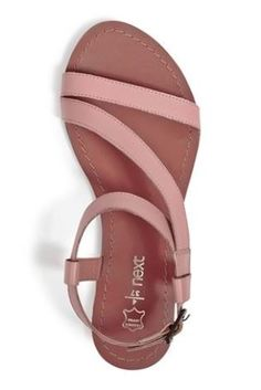 Leather Asymmetric Sandals in Soft Pink by Next
