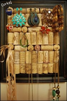 cork, cork board used for holding jewelry, I like that some of the corks are on their size and some are showing the round end
