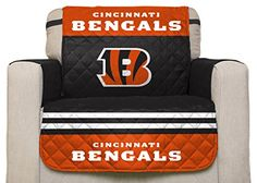 NFL Cincinnati Bengals Chair Reversible Furniture Protector with Elastic Straps 75inches by 65inches -- Learn more by visiting the image link.