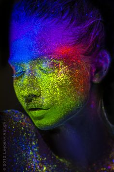 Black light uv powder model editorial color shoot. Lindsay Adler Photography.