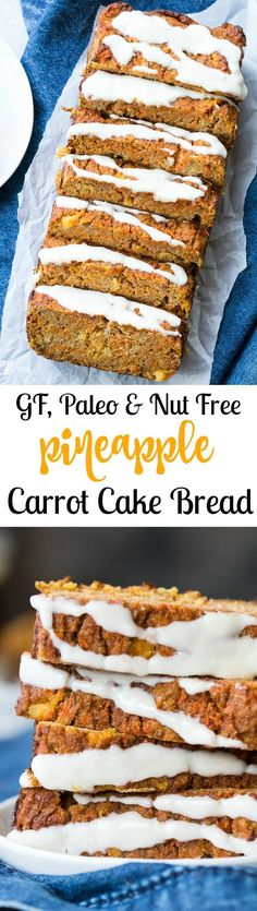 This super soft and moist pineapple carrot cake bread is just as healthy as it is delicious! Kid friendly and perfect for an Easter or Mother's Day brunch for dessert or as a snack. Made with coconut flour with an optional coconut butter drizzle this ca Patisserie Sans Gluten, Dessert Sans Gluten, Paleo Dessert, Gluten Free Desserts, Dessert Recipes, Paleo Recipes, Baking Recipes, Whole Food Recipes, Flour Recipes