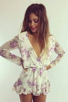 Sexy V-Neck Fashion Printed Jumpsuit Rompers