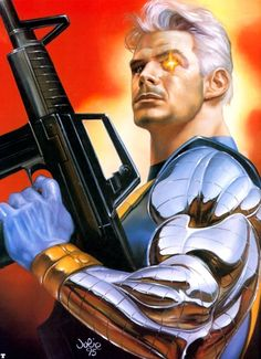JULIE BELL - Cable: Alternate future son of Scott Summers (Cyclops) and Jean Grey (Marvel Girl/Phoenix), 1995 - pin by Don Schmidt Comic Book Characters, Comic Character, Comic Books Art, Marvel Characters, Marvel Girls, Marvel Heroes, Marvel Comics, Julie Bell, Cable Marvel