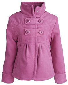 Dollhouse Little Girls Waisted Dressy Wool Look Coat with Ruffled Back - Rose Bloom (Size 5/6)