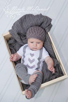 NEW Fall Winter Gray Chevron Baby Boy Tie Onesie by CoutureForKids