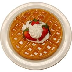 Strawberry Waffle Plate - FAKE FOOD - Decorcentral.com - Flora-cal... (38 AUD) ❤ liked on Polyvore featuring home, kitchen & dining, dinnerware, floral dinnerware and strawberry dinnerware