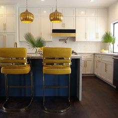 Waterfall Kitchen Island with Hollywood Regency Yellow Barstools