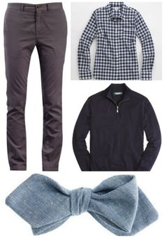 Pants / gingham shirt / half-zip / bow tie  http://www.autostraddle.com/queer-outfit-of-the-week-dapper-and-cuddly-movie-date-205256/