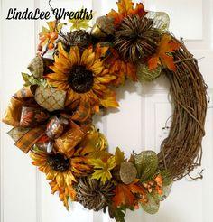Fall Grapevine Wreath, Sunflower Wreath, Grapevine Pumpkins, Autumn Wreath, Front Door Wreath, Fall Decor, Thanksgiving Wreath, Deco Mesh by LindaLeeWreaths on Etsy Christmas Mesh Wreaths, Thanksgiving Wreaths, Autumn Wreaths, Door Wreaths, Wreath Fall, Diy Wreath, Grapevine Wreath, Wreath Ideas, Sunflower Wreaths