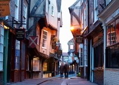 Looks like the inspiration for Diagon Alley. The Shambles in York is one of Britain's oldest and most charming streets. If you want a sense of what living in a medieval city was like, this is probably the closest you'll come!