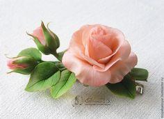 Купить Зажим для волос Розы - розовый, заколка с розой, заколка с розовой розой, роза, цветок