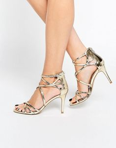 Image 1 of Head Over Heels By Dune Exclusive Minita Gold Strappy Heeled…