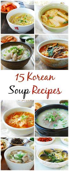 15 Korean Soup Recipes - Korean Bapsang - The Best Asian Recipes Korean Soup Recipes, Asian Food Recipes, Korean Beef Soup Recipe, Kimchi Soup Recipe, Japanese Recipes, Asian Desserts, Italian Recipes, South Korean Food, Vegan Korean Food