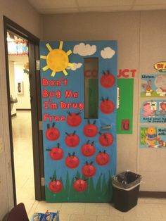 """"""" Say no to drugs"""" door decoration from my kindergarten class. My kids made the lady bugs by using red plastic bowl, black construction paper for the antenna, sticky eyes  and black marker for the dots."""