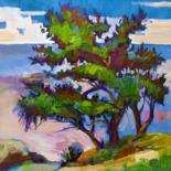 Pine trees near the sea on a hillside