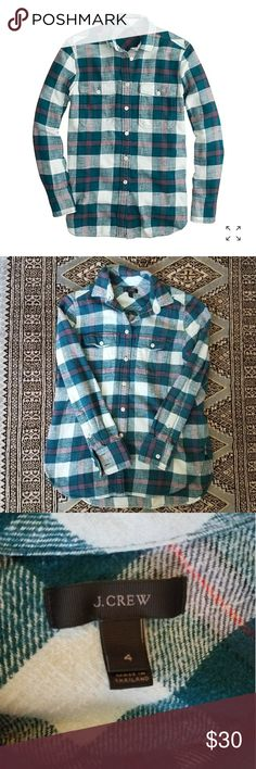 J. Crew Boyfriend Plaid J. Crew boyfriend flannel shirt in bluegrass plaid. Very pretty turquoise with white and red accents. All buttons accounted for and 2 extra still sewed in the side. Size 4.   🖤Measurements available upon request and offers always welcome. J. Crew Tops Button Down Shirts