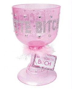 """Bachelorette Pimp Cup  $14.95  """"Sip your sizzurp in stizzyle and be the PIMP at your next party with this crunked-out Bachelorette Bitch Pimp Cup from Pipedream. With enough bling-bling to light up the night, these glitter goblets will have everyone wondering what's in your cup. Perfect for the girl's last night out and fun for any occasion! Yaaaa-yeah!"""""""
