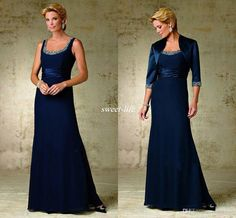 New Arrival Elegant Chiffon 2016 Wedding Mother of the Bride Groom Dresses With Wrap Long Sleeve Scoop Beaded Women Formal Wear Evening Gown Online with $110.01/Piece on Sweet-life's Store | DHgate.com