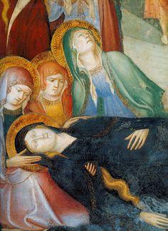 """Салимбени.""""РАСПЯТИЕ"""", деталь. Непосредственно под крестом братья Салимбени изобразили потерявшую сознание от горя Марию. Фрески в Оратории Иоанна Крестителя в Урбино."""