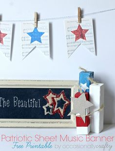 4th of July Printable Sheet Music Banner - Yellow Bliss Road