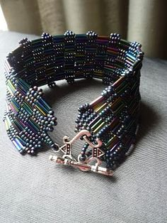 Checkerboard Weave Seed Bead and Bugle Bead Cuff Bracelet