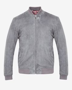 Suede bomber jacket - Gray | Jackets & Coats | Ted Baker