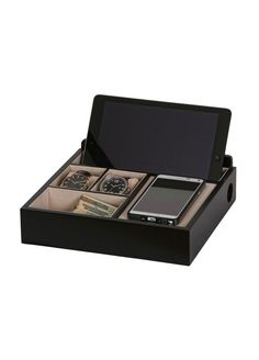 Rory Wooden Charging Valet in Black Style 00693S14