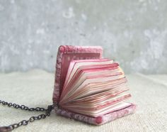 Mini book necklace steampunk journal jewelry Valentines by Baymut