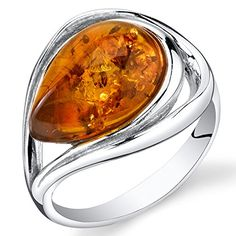 Baltic Amber Tear Drop Ring Sterling Silver Cognac Color…