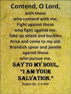 "Contend, O Lord,with thosewho contend with me;Fight against thosewho fight against me.Take up shield and buckler;Arise and come to my aid.Brandish spear and javelin against thosewho pursue me.Say to my soul,""I am your salvation.""Psalm 35: 1-3 NIV"
