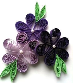 Flower Ornaments Purple Paper Quilled Set for Spring Celebration, Mother's Day