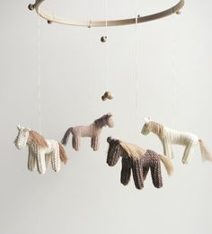 baby crib mobile - horses mobile - brown shades -  DREEMS RIDER- baby gift - made to order. $129.00, via Etsy.