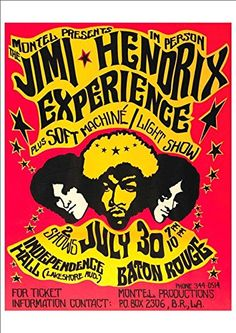 'The Jimi Hendix Experience - Independence Hall, Baton Rouge' - Wonderful A4 Glossy Print taken from a Vintage Concert Poster by Unknown http://www.amazon.co.uk/dp/B00L4T9G1U/ref=cm_sw_r_pi_dp_l697vb0QE37AJ