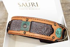 Madava dog collar made of ocher-terracotta vegetable tanned leather is elegantly looking and supple to the touch. Madava means abundance, and this special collar is truly abundant with beautiful details. It is designed for medium sized and large breed dogs.