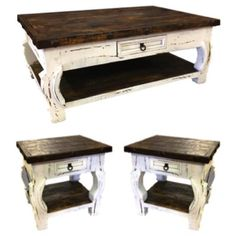 The Shenandoah End Tablefeatures a white distressed finish, nail head trim, and curved legs. It is a beautiful accent piece. White Distressed Coffee Table, Distressed Kitchen, Rustic Coffee Tables, Distressed Wood, Rustic Living Room Furniture, Farmhouse Style Table, Farmhouse Living Room Furniture, Farmhouse Decor, Farmhouse Ideas